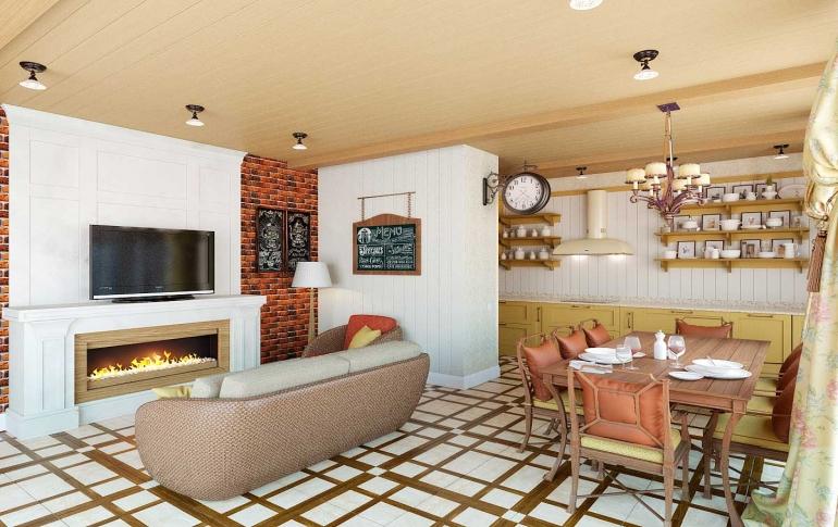 Гостиная зона в в отдельной кухне фото