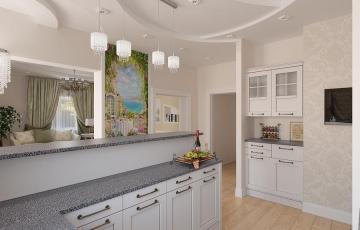 Дизайн проект кухни-гостиной в частном доме г. Урае
