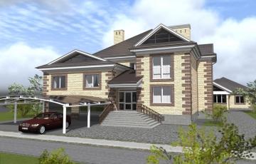 Проект двухэтажного  дома со встроенно-пристроенным гаражом на 2 автомобиля и подвальным этажом