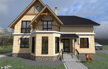 Проект небольшого дома с горажем и мастерской