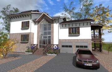 Проект двухэтажного дом с подвальным и мансардным этажами