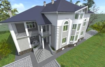 Жилой двухэтажный дом с подвальным и мансардными этажам, с бассейном и сауной